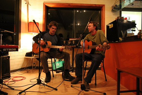 Duncan and Grug singing some tunes at open Mic night at Nati Cafe