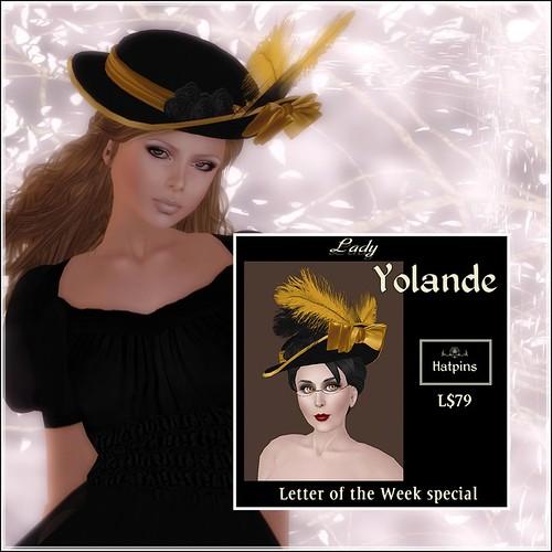 Hatpins - Lady Yolande - Golden Sunshine - Letter of the Week