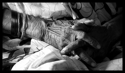 Wrinkled hands of my granny