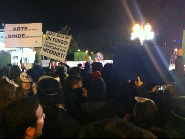 Imagen de los manifestantes en la Plaza de Oriente