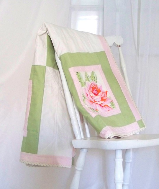 pink and green patchwork quilt with Nicey Jane roses fabric