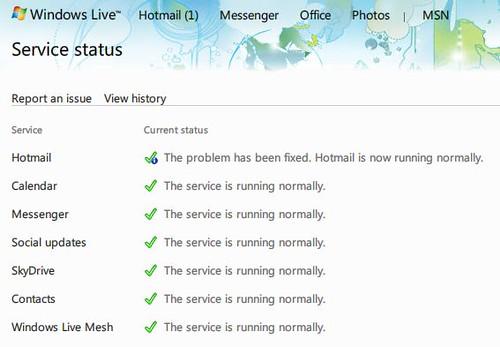 Windows Live Service status