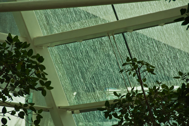 Rain on the sloping windows of the atrium