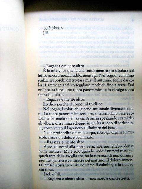 Lauren McLaughlin, Quattro giorni per liberarmi di Jack, Einaudi Stile Libero 2010; progetto grafico di Riccardo Falcinelli; incipit (part.), 1