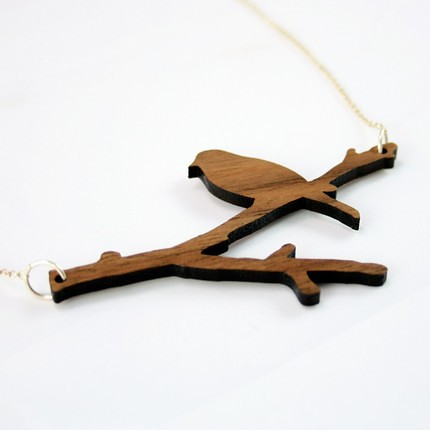 Necklace Walnut Bird on Branch