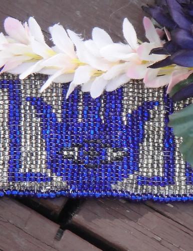 Blue-beaded dance headband & belt