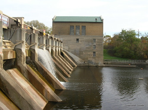 A side view of the dam