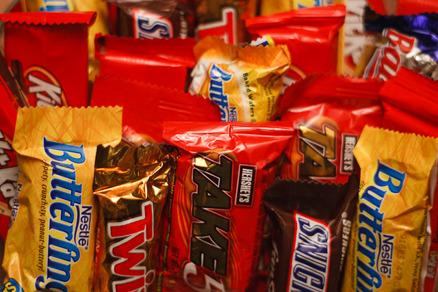 An assortment of candy bars, treats for kids and dentists alike