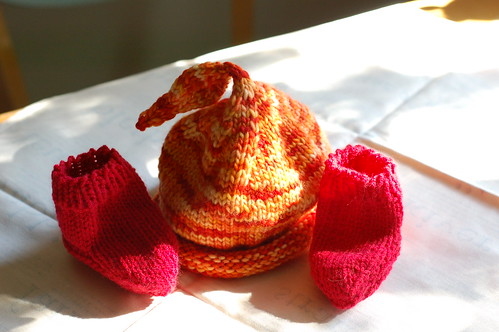Fiery Hat and Booties
