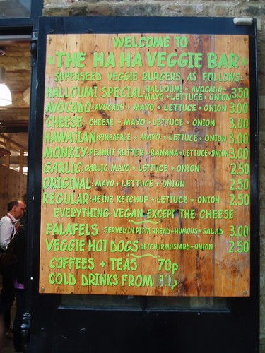 Menu at Ha Ha Veggie Bar