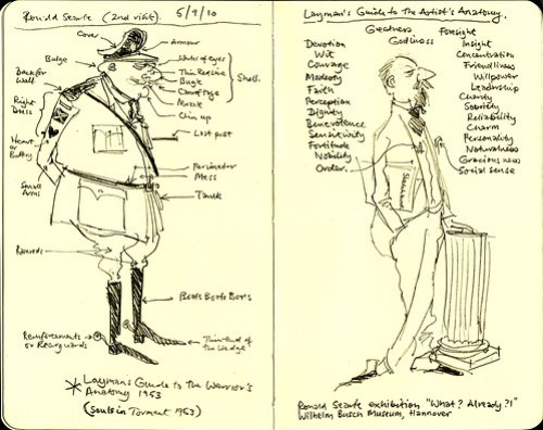 Exhibition sketchbook: Ronald Searle - Layman's Guide to the Warrior's Anatomy & Artist's Anatomy