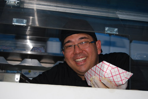 Todd Ichinaga with Tabe fries