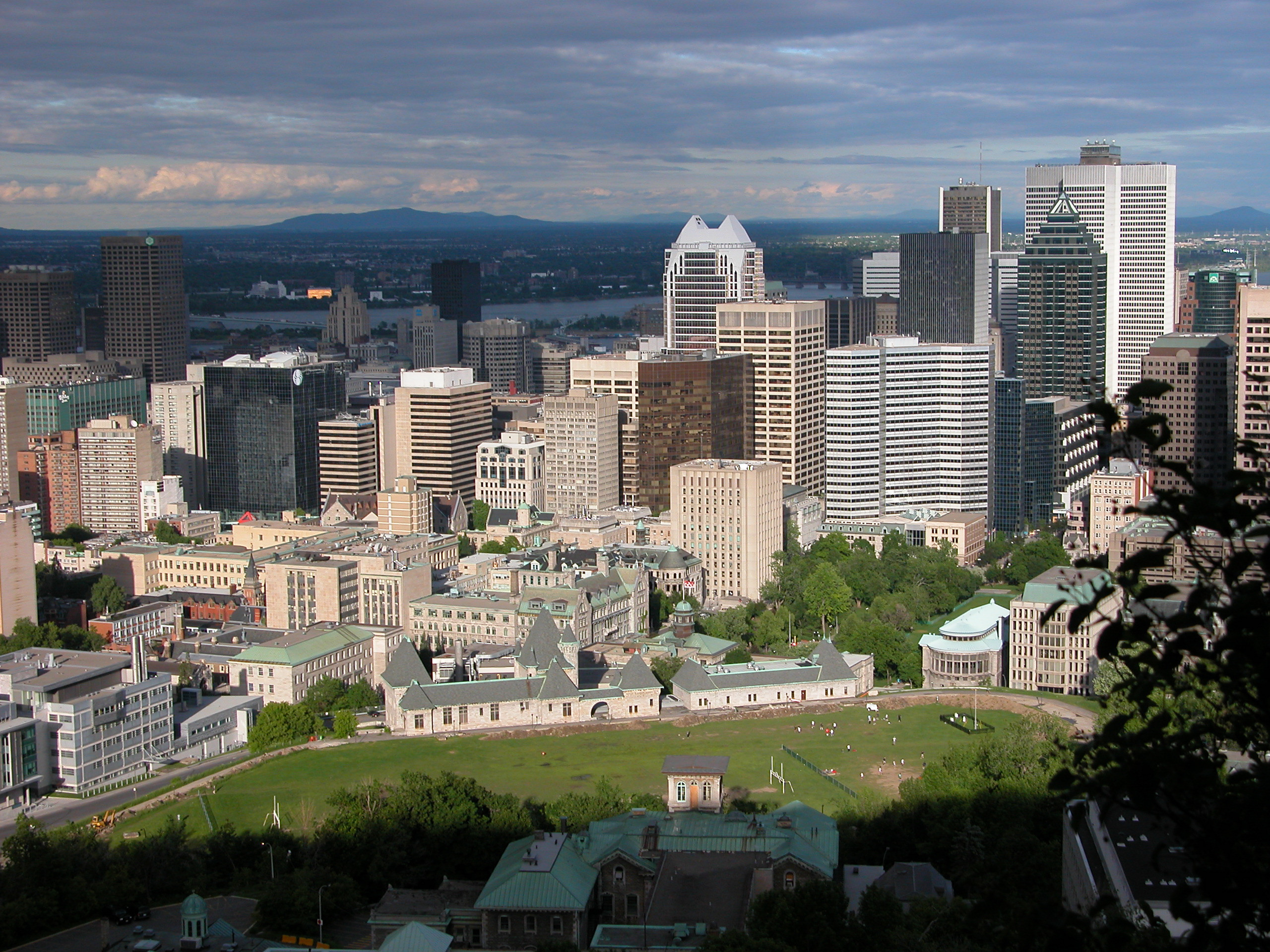 View of Montreal's McGill Ghetto from Mount Royal