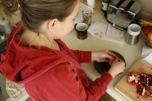 cutting pomegranate