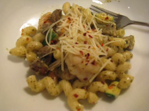 Shrimp & Cavatappi Pesto Alfredo - Plated
