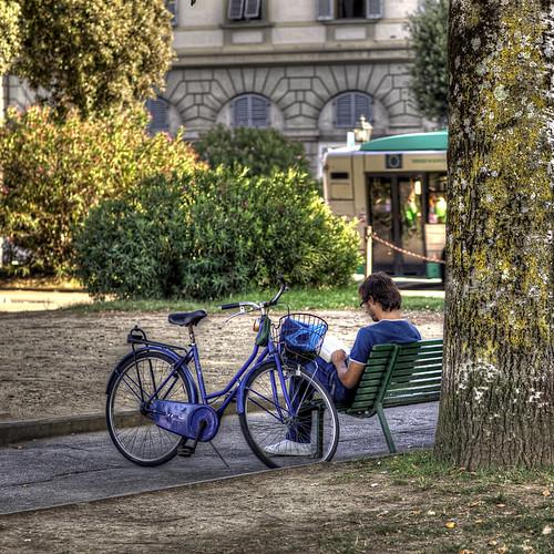 bike and book in blue