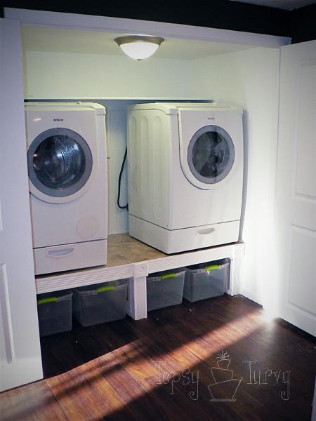 washer and dryer on laundry shelf
