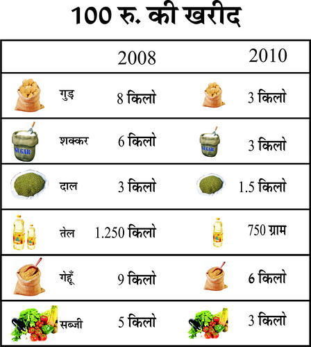 What Rs. 100 bought in 2008 and what it buys in 2010