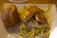 Spinach Fettuccine Alfredo with 'Scallops'
