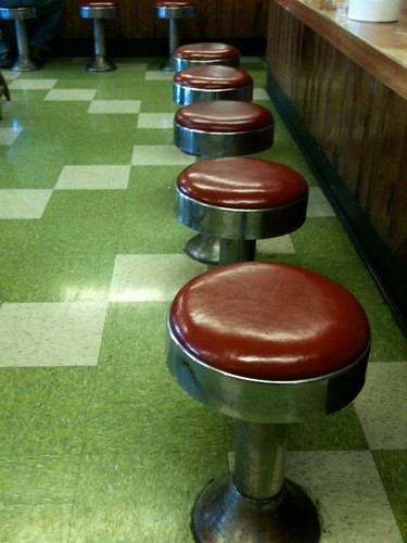 Green Linoleum and Red Counterstools
