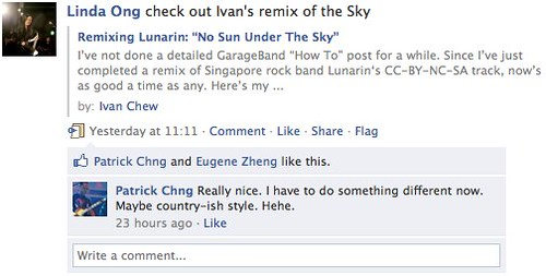 Facebook | Linda Ong comments on my remix of Lunarin's The Sky