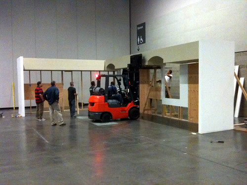 At the Oregon Convention Center, Kevin gives our soffits a lift as we piece it back together
