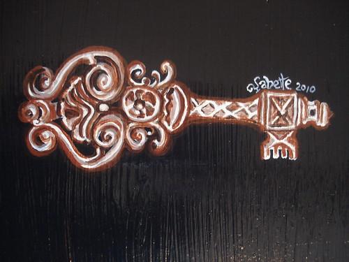 black steampunk nightstand key detail