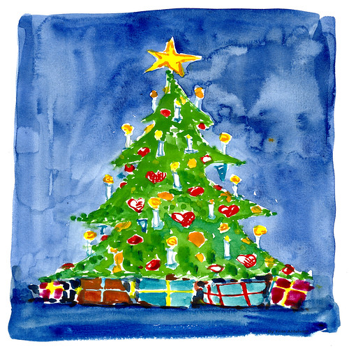 christmas tree 03 watercolor