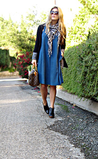 teal dress with ankle boots and cardigans+cat ...