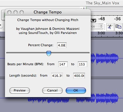 Change Tempo using Audacity