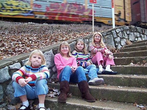 Girls on Steps (with Train)