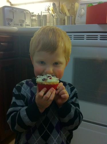 Bobby eats cupcake
