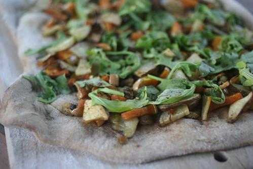 Squash, Eggplant, Potato and Arugula Pizza