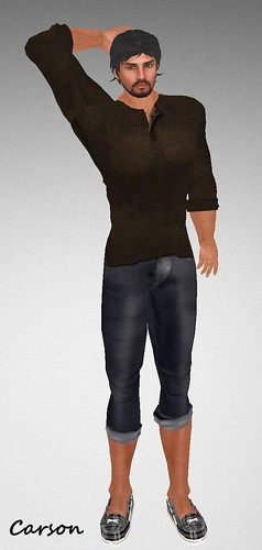 MHOH4 # 56 - JfL Brown Henley and Rolled Up Jeans