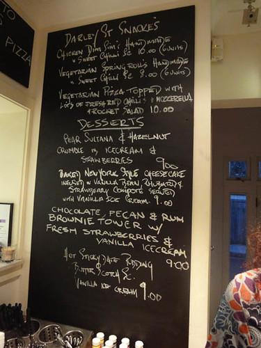 Snacks and desserts menu