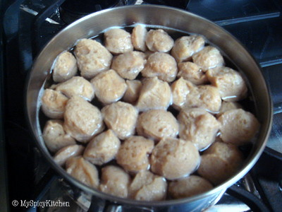 Soya Nuggets soaked in warm water