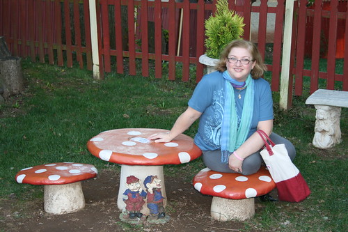 Dianne posing with cute mushroom set