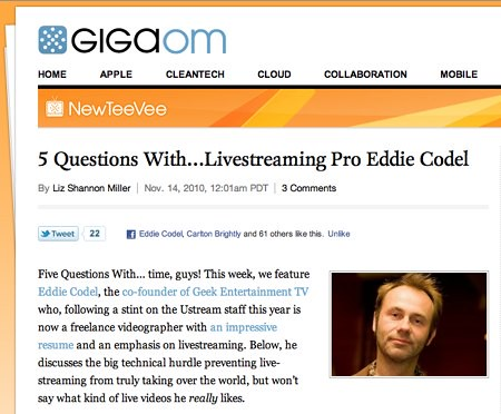 5 Questions With…Livestreaming Pro Eddie Codel: Video «