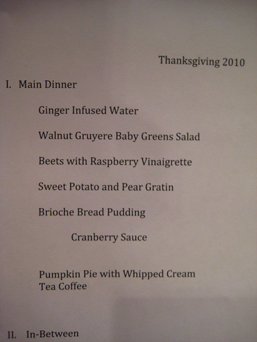 thanksgiving 2010 menu