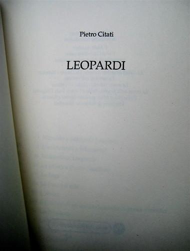 Pietro Citati, Leopardi, Mondadori 2010; art dir.:Giacomo Callo, graph. designer:Cristina Brazzoni; frontespizio (part.), 1