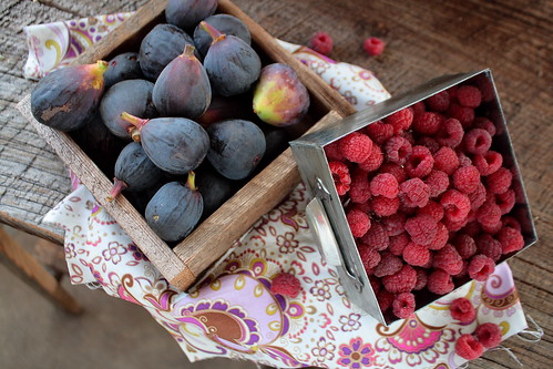 Fresh Figs and Red Raspberries