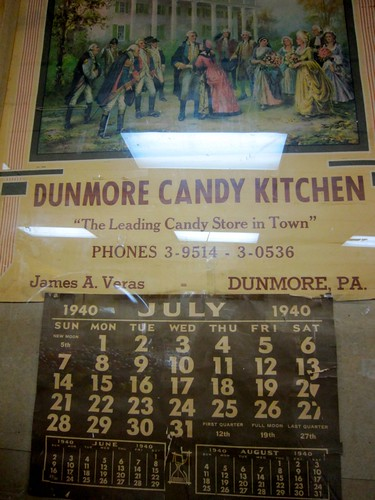 Dunmore Candy Kitchen Vintage 1940 Calendar