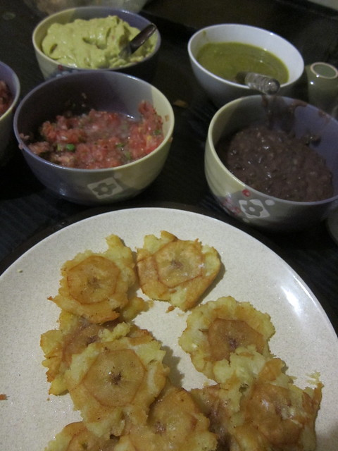 Fried plantains and 4 types of sauce!