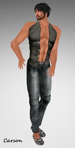 MHOH4 # 31 - P Pounce Lestat Soft Black Vest (Open) P Pounce Black Jeans