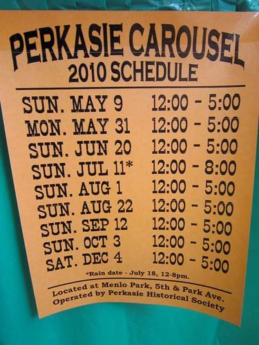 Perkasie Carousel Schedule