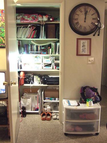 Closet office, now.