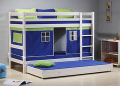 Kinder Bunk Bed: White Wash Wood with Blue Tent
