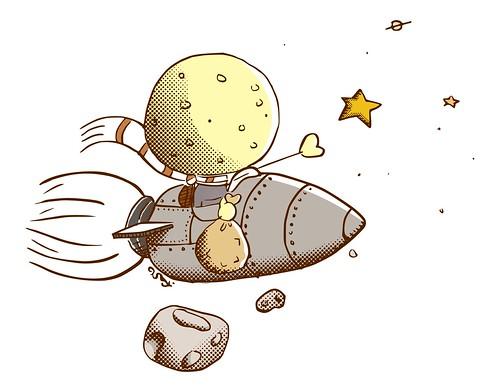 O menino Lua em um foguete