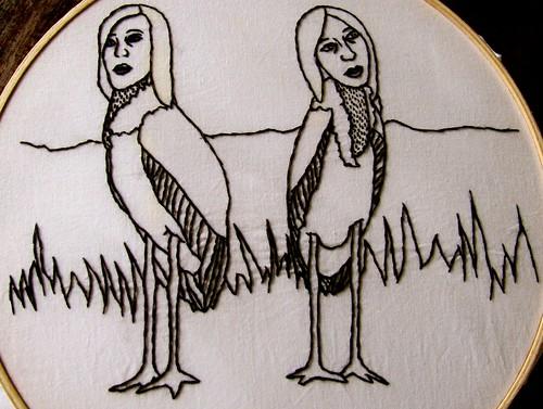 Self-portrait as two Marabou Storks