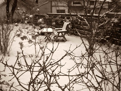 sepia chairs and tables in snow